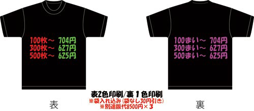 オリジナルTシャツ 表2色裏1色プリント